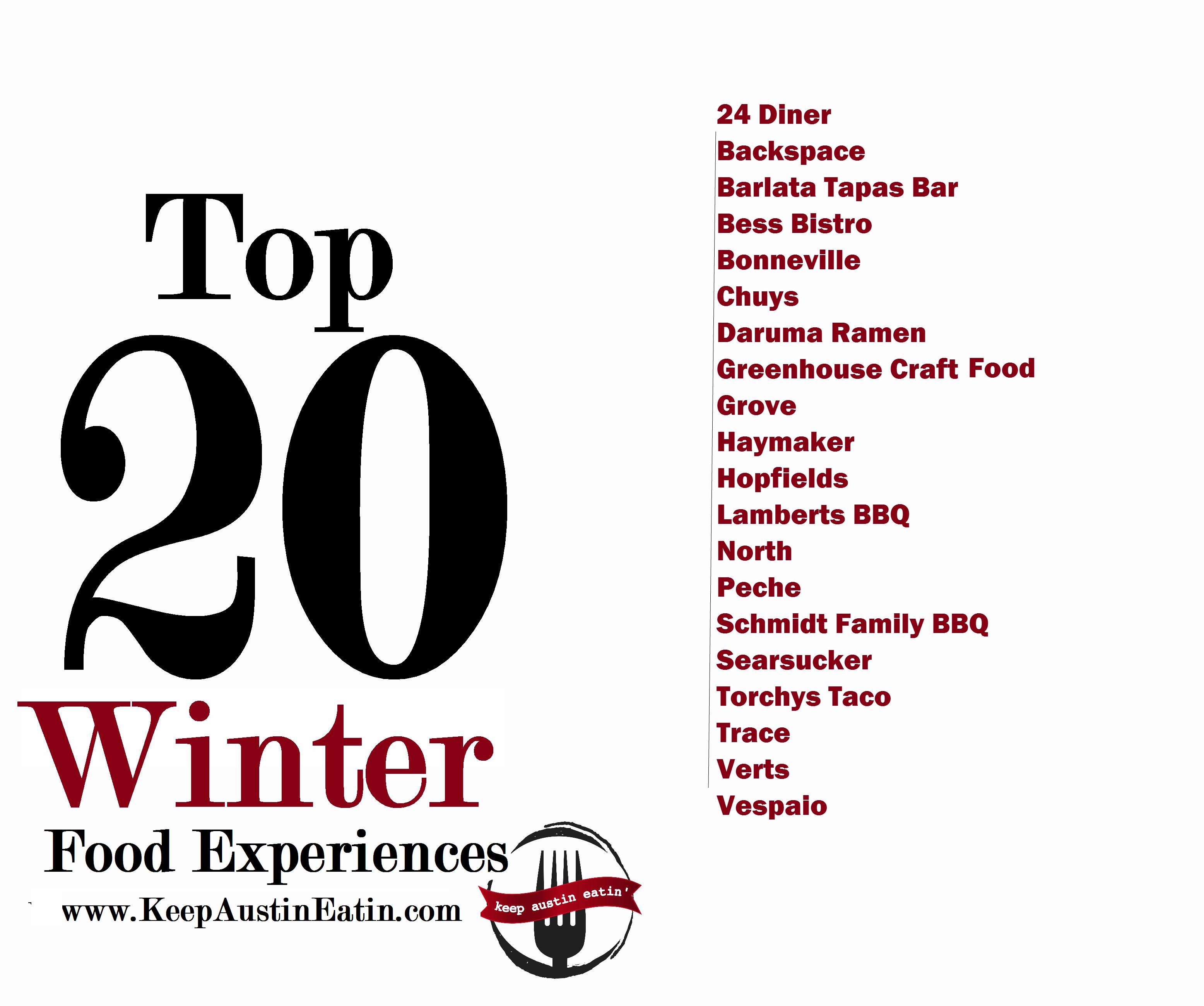 TOP 20 WINTER FOOD EXPERIENCES